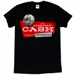 Johnny Cash Museum Black Tee- Johnny Cash Singing