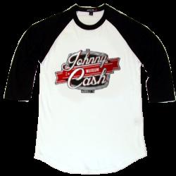 Johnny Cash Museum White and Black Baseball Tee
